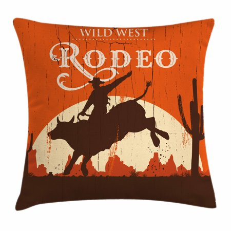 Wilderness Accent - Vintage Throw Pillow Cushion Cover, Rodeo Cowboy Riding Bull Wooden Old Sign Western Wilderness at Sunset, Decorative Square Accent Pillow Case, 16 X 16 Inches, Vermilion Redwood Cream, by Ambesonne