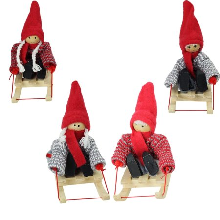 Set of 4 Colorful Holiday Kids on Sleds Christmas Ornament Decorations 4