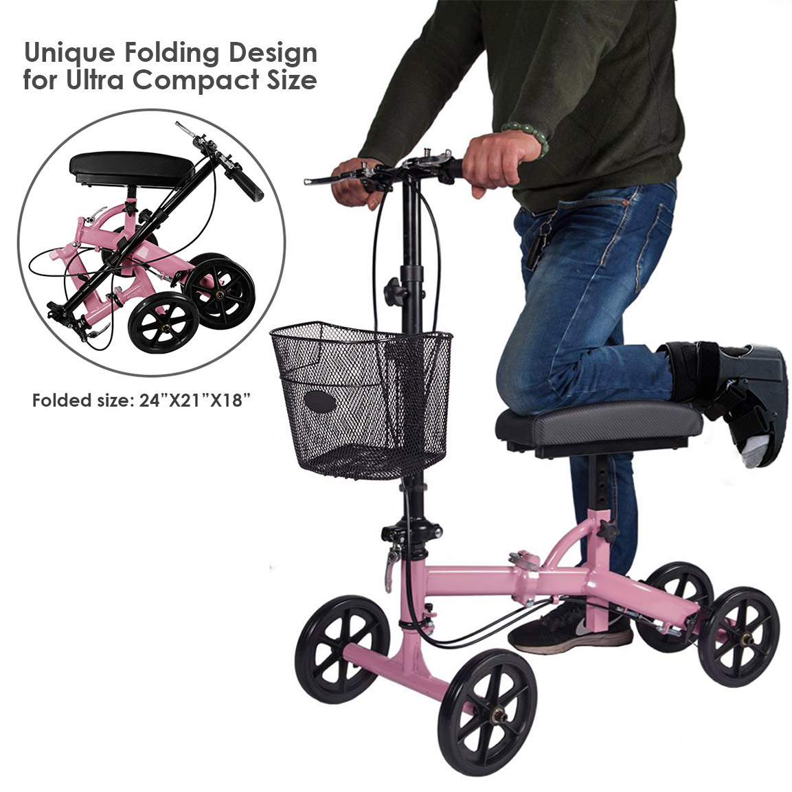 Clevr Foldable Medical Steerable Knee Walker Scooter Roller Crutch Alternative Upgraded Pink