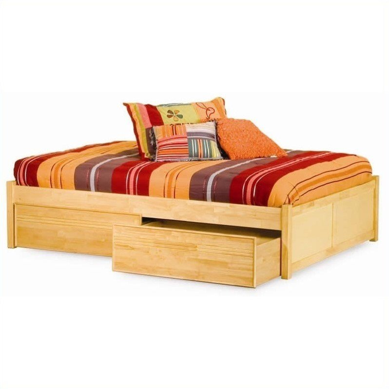 Atlantic Furniture Concord Platform Bed with Flat Panel Footboard in Natural Maple-Queen