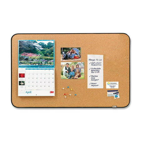"""Post-it Sticky Cork Board, 22"""" x 36"""", Black and Gray, Includes Command Fasteners, 1 Each (Quantity)"""