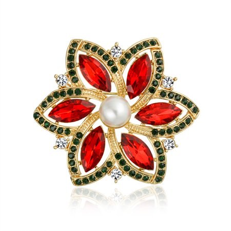 Red Marquise Crystal Simulated Pearl Fashion Large Statement Holiday Poinsettia Flower Brooch Pin For Women Gold Plated