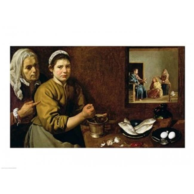 Posterazzi BALXIR61092LARGE Kitchen Scene with Christ in The House of Martha & Mary Poster Print by Diego Velazquez - 36 x 24 in. - Large - image 1 de 1