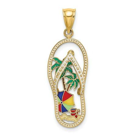 Diamond Palm Tree Charm (14k Yellow Gold Enamel Palm Tree Beach Scene Flip-Flop Charm Pendant )