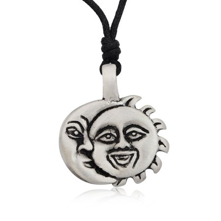 Sun and Moon Ying Yang Silver Pewter Charm Necklace Pendant Jewelry With Cotton - Sun And Moon Friendship Necklace