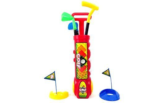 Deluxe Kid's Happy Golfer Toy Golf Set, Red Pretend Play Kids IMagination Toys by