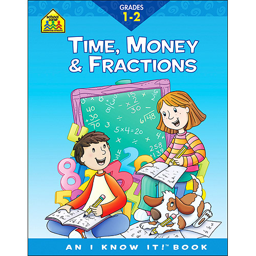 School Zone Curriculum Workbooks Time, Money, Fractions Grades 1-2