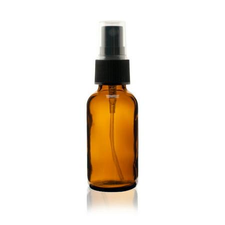 1 oz AMBER Boston Round Glass Bottle - w/ Black Fine Mist Sprayer - pack of 12 ()