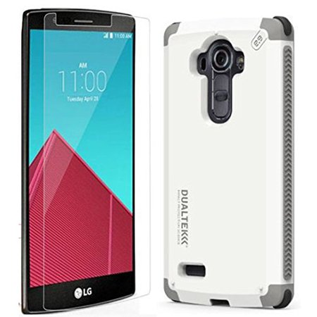 Arctic White Glass - LG G4 Case/GlassWalmartbo, [Arctic White] Dualtek Extreme Impact Rugged Case Cover + Tempered Glass Screen Protector for LG G4 Phone (F500,.., By PureGear