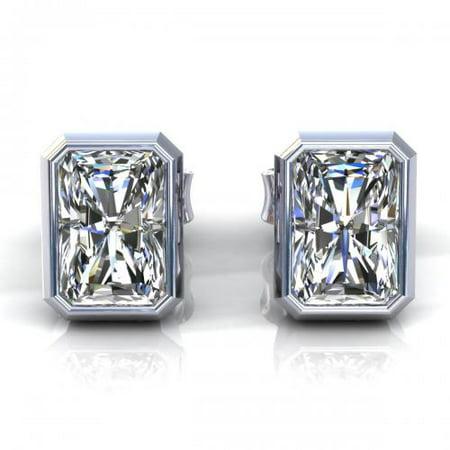 - 0.50CT radiant cut diamonds stud earrings