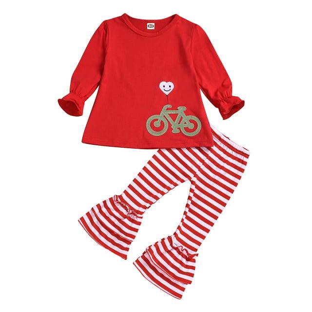 Leggings Pants Clothes XMAS Set Toddler Kids Baby Girl Outfit T-shirt Dress Top