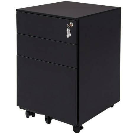 Merax Three Drawer File Cabinet Mobile Metal Lockable Rolling File Cabinet