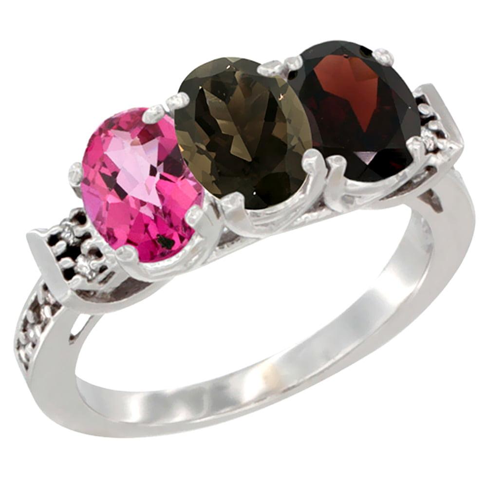 14K White Gold Natural Pink Topaz, Smoky Topaz & Garnet Ring 3-Stone 7x5 mm Oval Diamond Accent, sizes 5 10 by WorldJewels