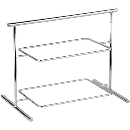 Rectangular Serving Rack (APS Two-tier Display Stand for Rectangular Trays / Plates, Chrome Steel,)