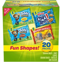 Nabisco Fun Shapes Variety Pack, Barnum's Animal Crackers, Teddy Grahams and CHIPS AHOY! Mini, 20 - 1 oz Packs