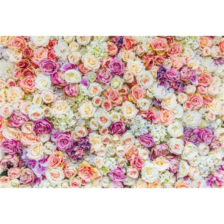 HelloDecor Polyster 7x5ft Sweet Flowers Backdrops Romantic Roses Photo Shoot Background Wedding Photography Studio Props Bridal Shower Girl Woman Artistic Portrait Digital Video Drop Party Banner - Bridal Shower Backdrop