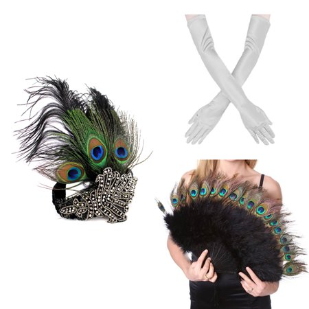 1920s' Vintage Flapper Accessories Costumes Set Peacock Headband, Sliver Gloves Peacock Feather Fan for Halloween - 1920s Mens Halloween Costumes