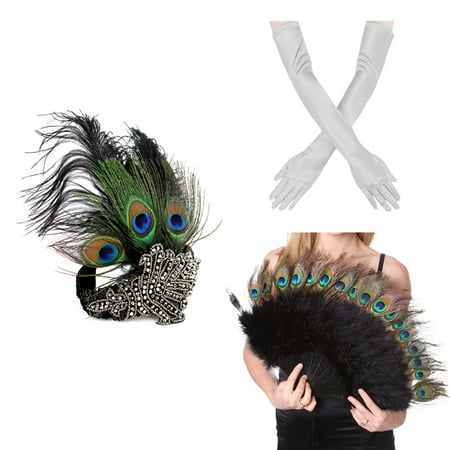 Peacock Feather Costume Tail (1920s' Vintage Flapper Accessories Costumes Set Peacock Headband, Sliver Gloves Peacock Feather Fan for)