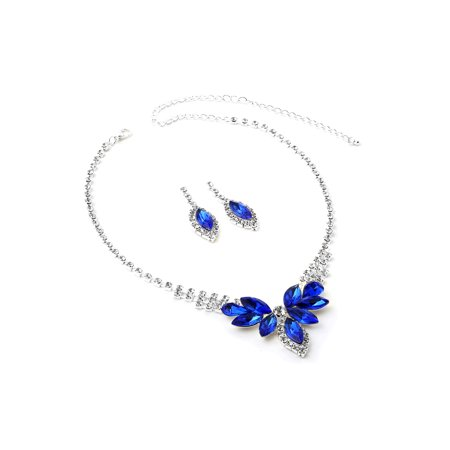 Silver Crystal Rhinestone with Indicolite Flower Pedal Stones Necklace and Dangle Matching Earrings Jewelry - Halloween Rhinestone Jewelry