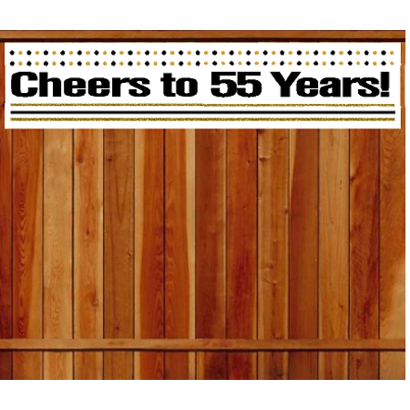 Item055CIB 55th Birthday Anniversary Cheers Wall Decoration Indoor OutDoor Party Banner 10 X 50inches