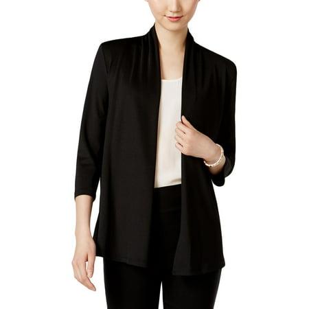 Kasper Womens Petites Shawl Collar Ruched Blazer Black PS
