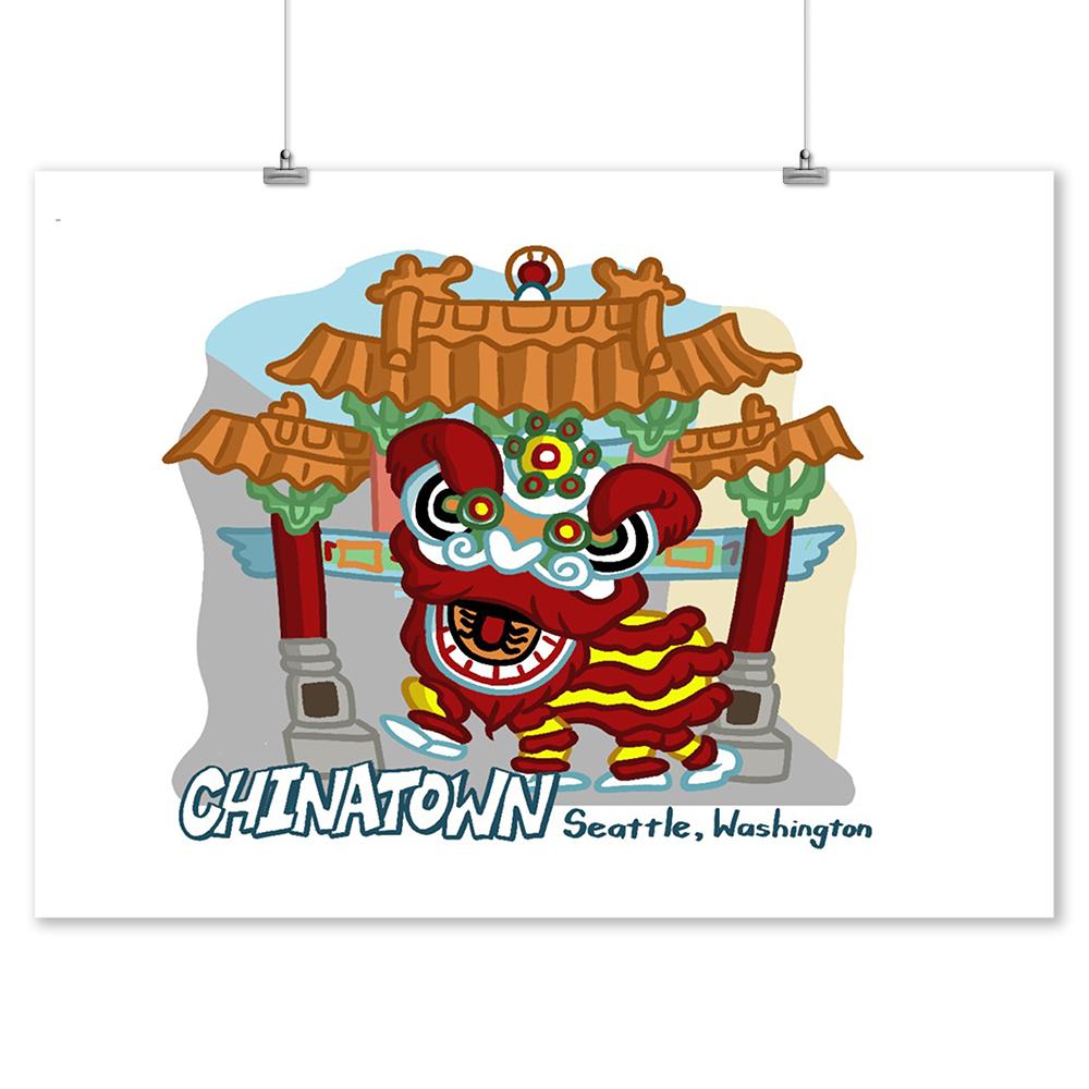 Seattle, Washington - Chinatown - Cartoon Icon - Lantern Press Artwork (9x12 Art Print, Wall Decor Travel Poster)
