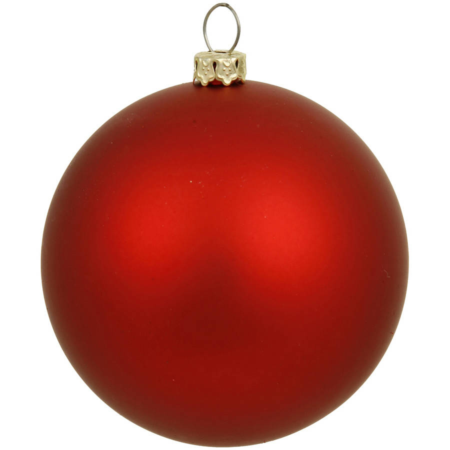 """Vickerman 15.75"""" Red Matte Ball Ornament with UV-Resistant Finish and Pre-Drilled Cap"""