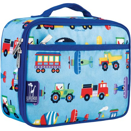 Lonchera Trenes, aviones, camiones lonchera a los niños oliva iba + Wildkin en Veo y Compro