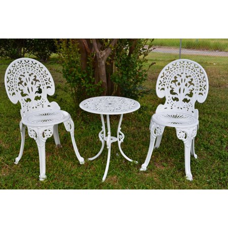 Angel White Garden Bistro Set Table And Two Chairs For Yard 3 Pieces