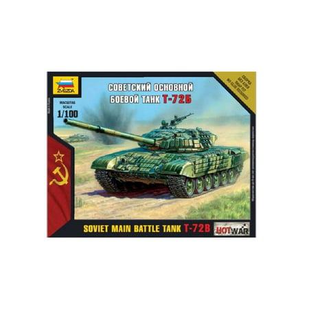 1/100 T-72B Soviet Main Battle Tank Snap Fit, 1:100 Scale kit By Zvezda Models Ship from US