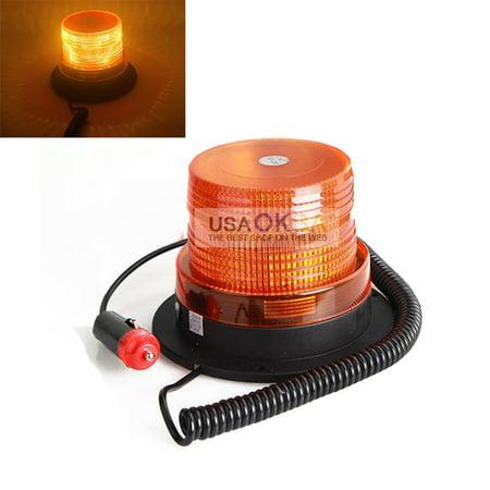 Car Bus Magnetic LED Emergency Beacon Flash Strobe Warning Light Amber, 12V (Emergency Strobe Beacon)