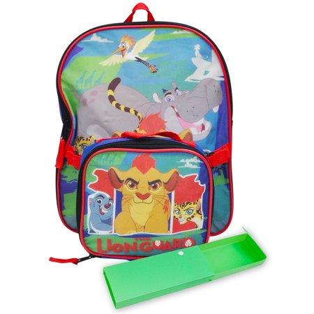Boys Lion Guard Toddler Backpack, Insulated Lunch Bag and Pencil Case 3Pcs (Boys Backpack And Lunchbox)