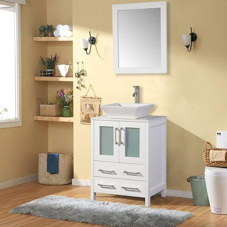 24 Inch Vanity Set - Vanity Art  24-inch Single Sink Bathroom Vanity Set With Ceramic Top