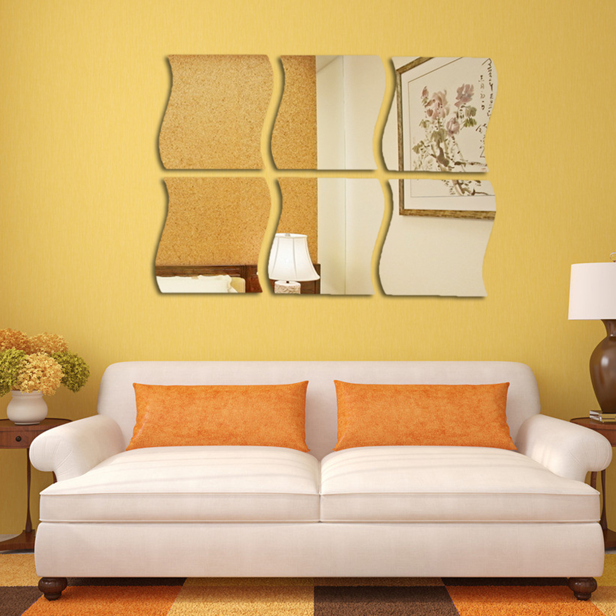 18 PCS 3D Acrylic Modern Mirror Wall Stickers Vinyl Removable Home ...