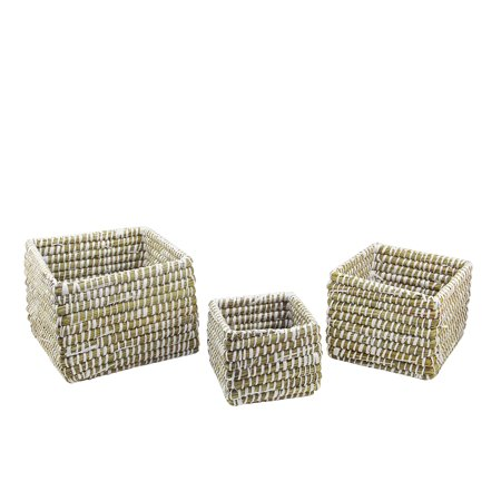Napa Home & Garden Set of 3 Square Rivergrass Storage Baskets 10