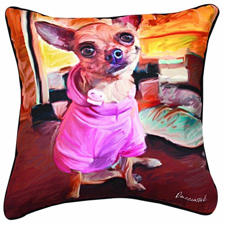 Bella Square Pillow - Manual Chihuahua Bella Paws and Whiskers Decorative Square Pillow, 18-Inch, 100% Polyester By Manual Woodworker