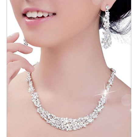 Bridal Party Jewelry Gifts - Bridal Party Diamante Necklace and Earrings Jewelry Sets