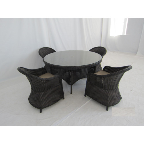 Creative Living Antigua 5 Piece Dining Set - Mahogany Wicker