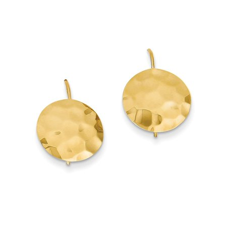 14kt Yellow Gold Hammered Circle Disc Drop Dangle Chandelier Earrings Fine Jewelry Ideal Gifts For Women Gift Set From Heart