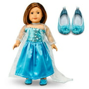 "Fits American Girl 18"" Princess Dress 18 Inch Doll Clothes Costume Outfit Set with Shoes"