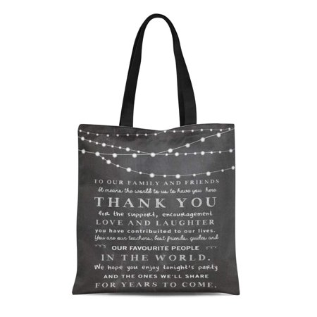 KDAGR Canvas Tote Bag Sign Chalkboard String Lights Thank You Idea Blackboard Tahnk Reusable Handbag Shoulder Grocery Shopping Bags ()