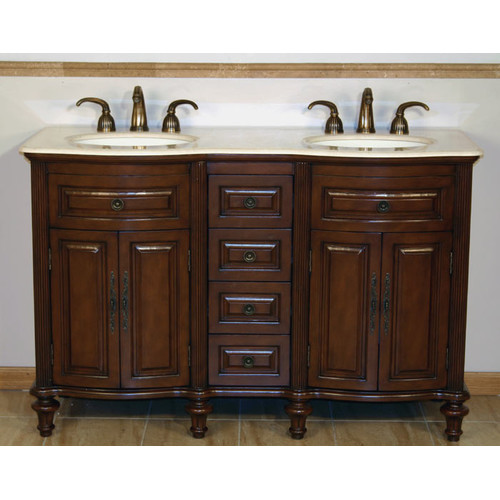 Silkroad Exclusive Cumberland 55'' Double Bathroom Vanity Set