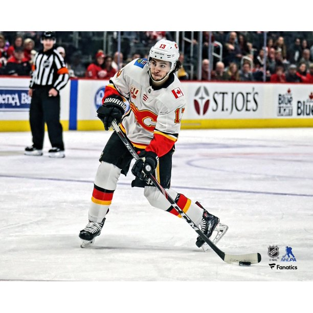 Johnny Gaudreau Calgary Flames Unsigned White Jersey Shooting Photograph