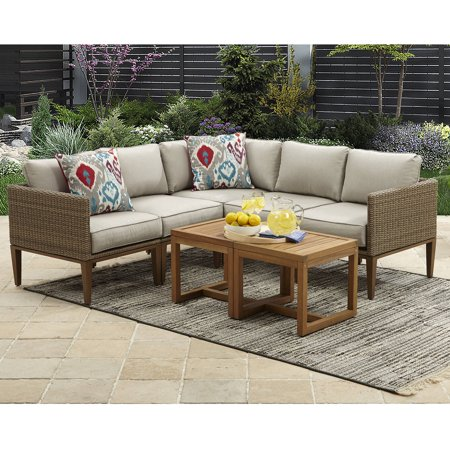 Davenport 7-Piece Woven Outdoor Sectional Set, Box 1 of 2