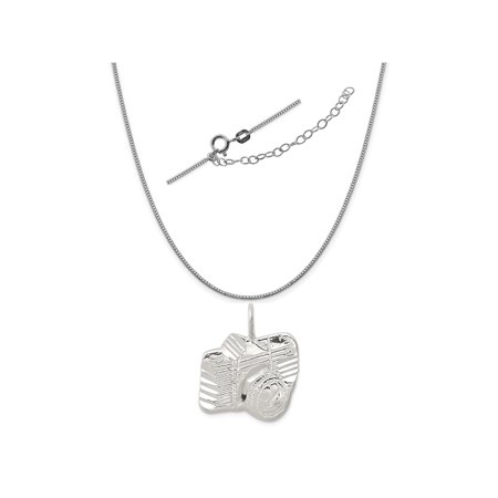 "Sterling Silver Fancy-Cut Camera Charm on a 0.90mm Box Chain Necklace, 18"" + 2"" Extender"