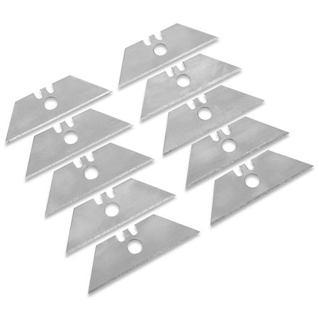 10 Pack Utility Knife Blades- 2 3/8 X 3/4 X 2 3/8 Inch Edge- For All Standard Utility Knife Handles- For All General Purposes, Cutting Boxes, Plywood, Leather, Plastic, And Sheetrock. - By Katzco ()