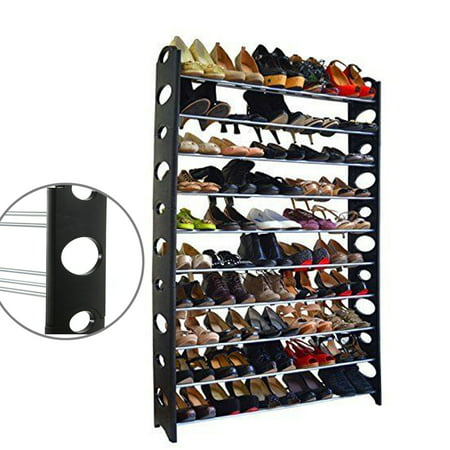 10 Unit Dispenser Rack - Zimtown 50 Pair 10 Tier Shoe Tower Rack Organizer Space Saving Shoe Rack