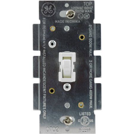 GE In-Wall Light Switch Dimmer for LED, CFL, Incandescent Dimmable Bulbs, Single Pole, 18025