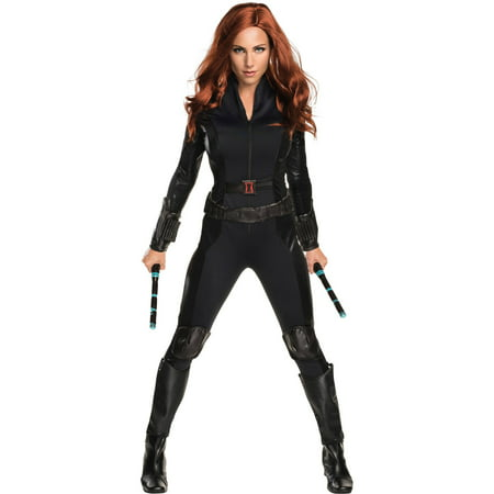 S/W Black Widow Adult Halloween Costume (Black Veins Halloween Makeup)