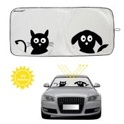 "IClover Folding Car Windshield Sunshade Protector with Pet Design (59""x33'')Cute Cartoon Design Front Auto Car Windshield Sun Shade Silvering Sun Visor - UV Coating for UV Ray Deflector"